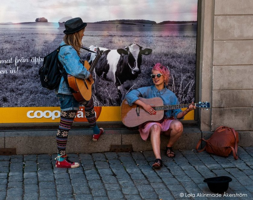 Уличные артисты в Стокгольме